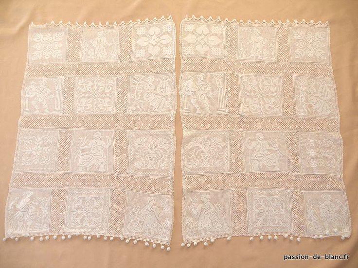 Linge ancien superbe paire de petits rideaux en dentelle r alis au crochet - Rideaux anciens dentelle ...
