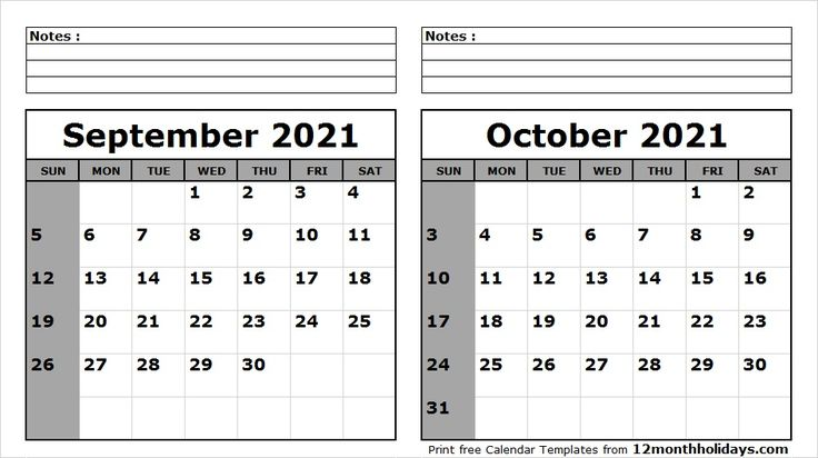 September October 2021 Calendar Printable | 2020 calendar ...