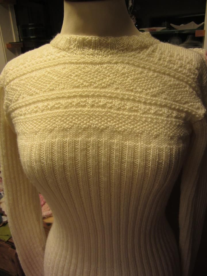Marius sweater, white on white. Unsusal version of traditional Norwegian sweater.  Found somewhere on goodle long ago, I didnt mange to trace the owner/ original wbpage.