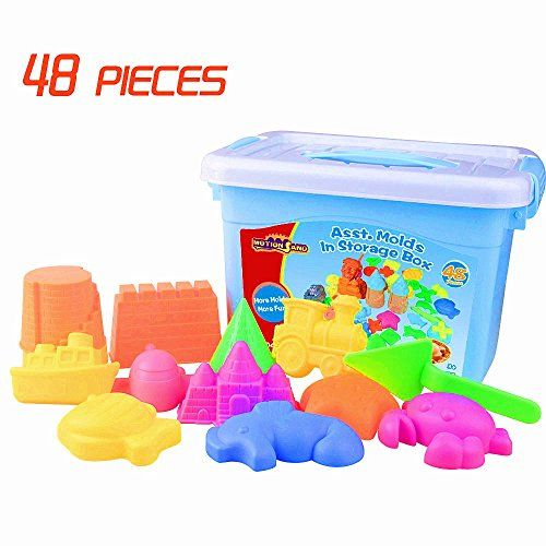 Motion Sand, 48 Pieces Assorted Molds, Color Sand Molds, Play Sand, Sand Toys Compatible with Kinetic Sand, Sands Alive - Product Description:Safe, nontoxic and light-weight, for on the go fun! Motion Sand is helpful in promoting children's imagination and creation, improving coordination between hand and brain, and stimulating nerve growth of child brainSand not included. However, bulk options of natural and colore...
