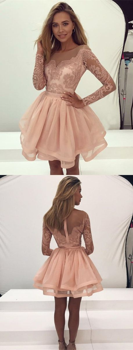 chic pink short tiered homecoming party dresses with long sleeves. elegant short prom dresses with appliques, semi formal dresses.
