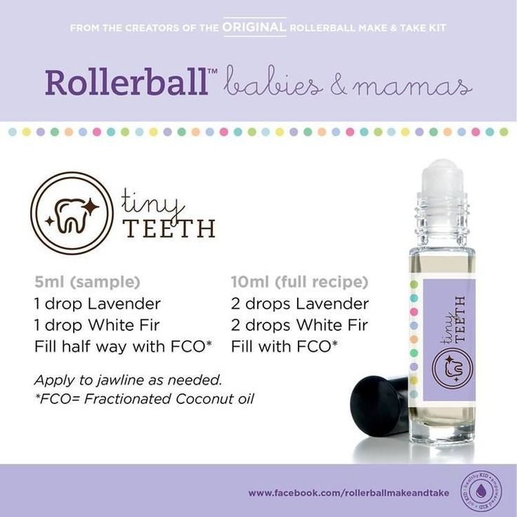 Essential oils roll-on recipe for tiny teeth. For more info on Young Living Essential Oils, visit: www.TheSavvyOiler.com
