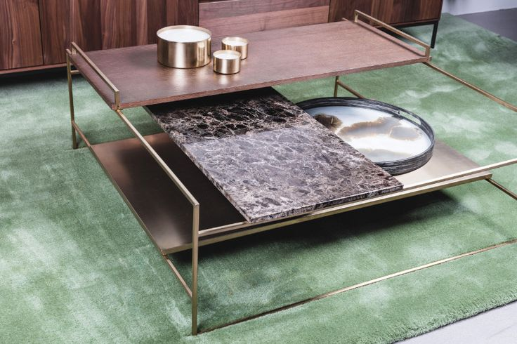 Goud en marmeren salontafel - Verkrijgbaar bij Abitare Mooi Wonen www.abitare.be