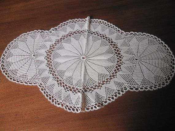 Middle  crochet doily Linear  ecru  handmade by KnittingworldShop