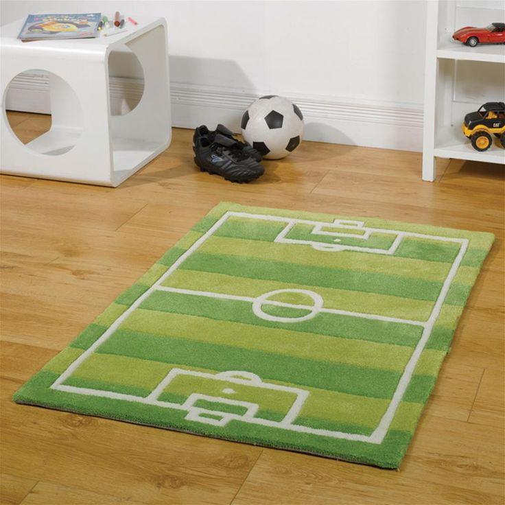 Flair Kiddy Play Football Pitch Green Childrens Rug | Internet Gardener