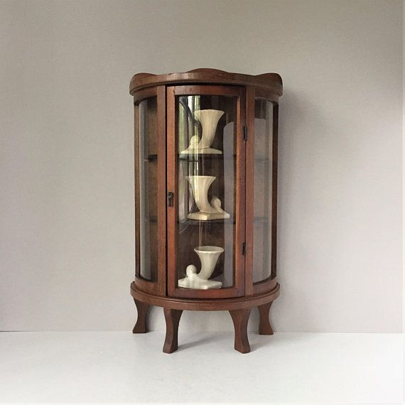 Vintage Curio Cabinet Miniature Display Shelf Curved Glass
