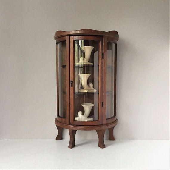 Vintage Curio Cabinet Miniature Display Shelf Curved Glass