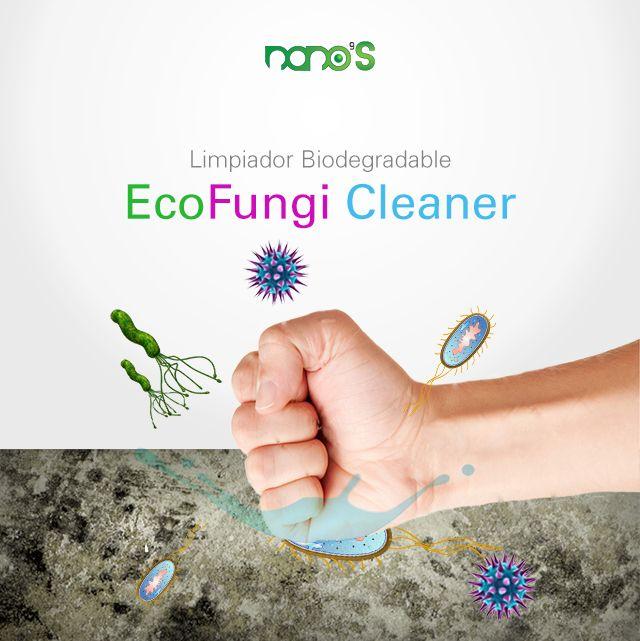 Eco Fungi Cleaner Elimina moho, manchas orgánicas, mata bacterias, y microorganismos de paredes y suelos provocados por la humedad y la contaminación ambiental.