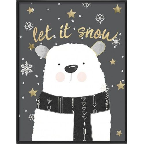 Let it snow art print cute polar bear- 69