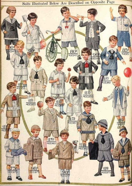 A page of suits for little boys from the Spring 1916 Sears catalog.