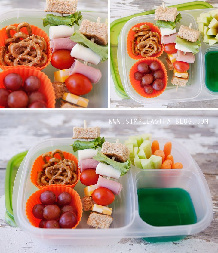 Sandwich kabobs, a healthy non-sandwich school lunch alternative. Add Jell-O to lunch containers for a special treat!