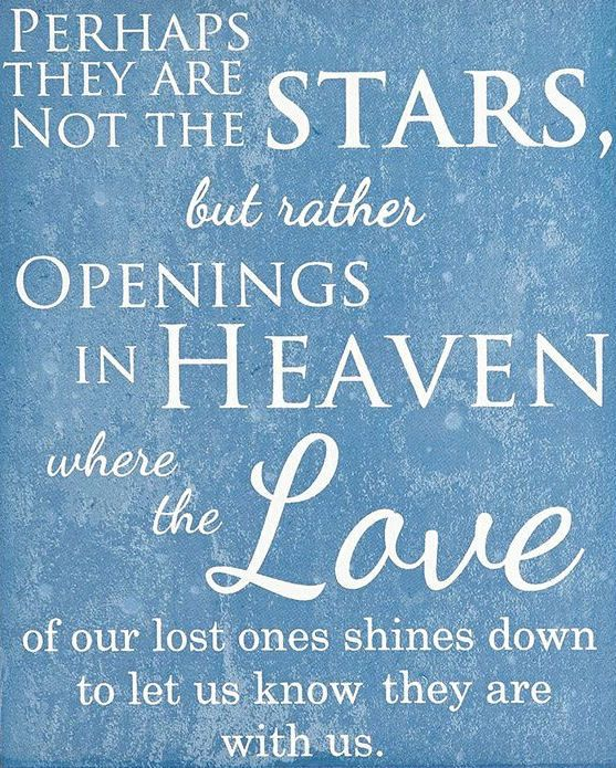 Perhaps They Are Not Stars But Rather Opening in Heaven Where the Love of Our Lost Ones Shines Down to Let Us Know They Are With Us!