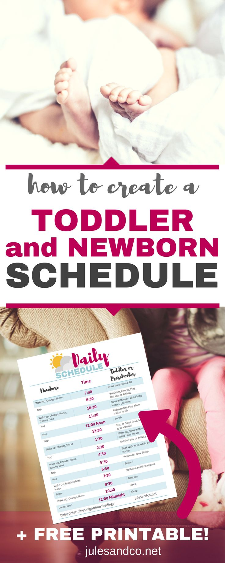 Ready to welcome home your new baby? With your second baby, there is a whole new element to managing your family. If you have a toddler or preschooler at home, you'll definitely need to adjust your daily routine to work for both your older child and your baby. Click through to see a behind-the-scenes look at how I create a toddler and newborn schedule that helps me stay sane!