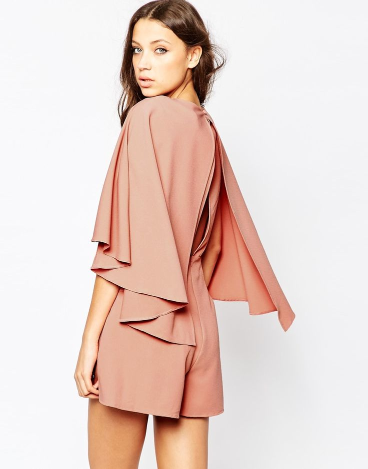 Image 2 of ASOS TALL Romper with Cape Sleeve