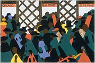 Jacob Lawrence. Visions of a People in Motion By HOLLAND COTTER. The Migration of the Negro, Panel no. 49. Jacob Lawrence. 1940–1941 C.E. Casein tempera on hardboard.