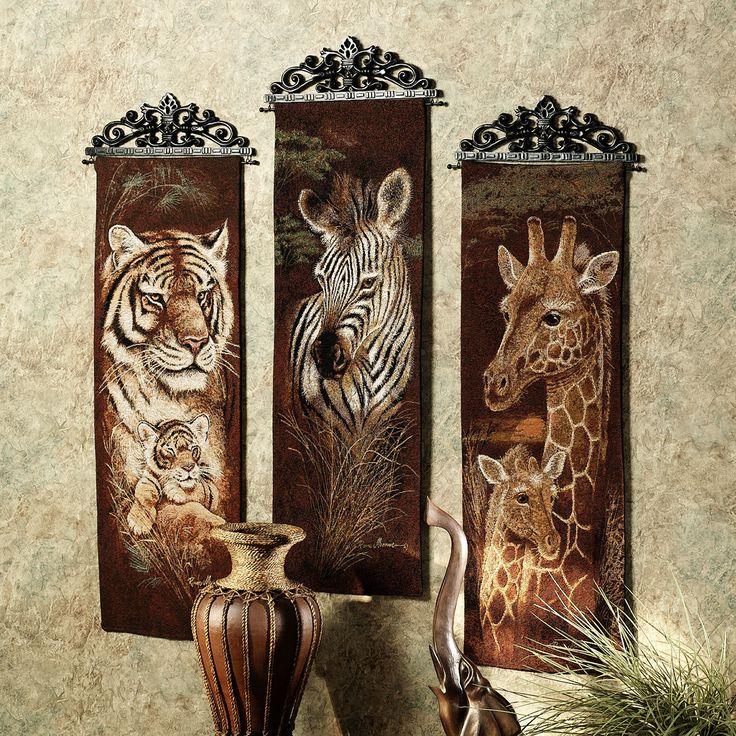Safari Animals Panel Set  Set of Three