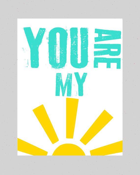 Nursery Wall Decor Kids Wall Prints Nursery Art You Are My Sunshine