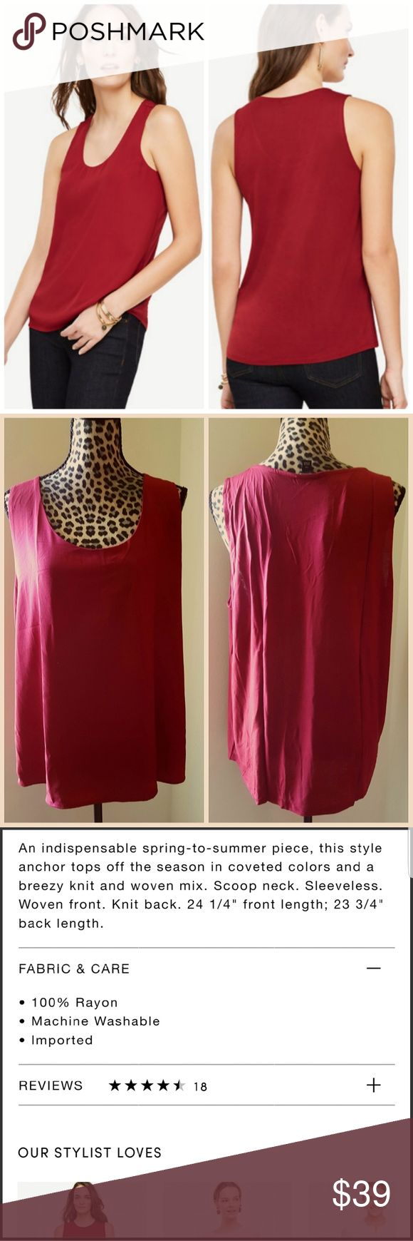 NEW Ann Taylor Mixed Media Shell Brand new with tags  Ann Taylor Rumba Red Mixed Media Shell  Rumba red is an online exclusive color that is sold out for all sizes except petite on ann taylor online. Plus size  20% off bundles or Make me an offer I'm never offended by any offer.  No trades Ann Taylor Tops Tank Tops