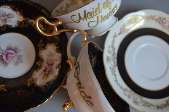 Vintage Teacups and Saucer Bride and Maid of by bostoninachinashop