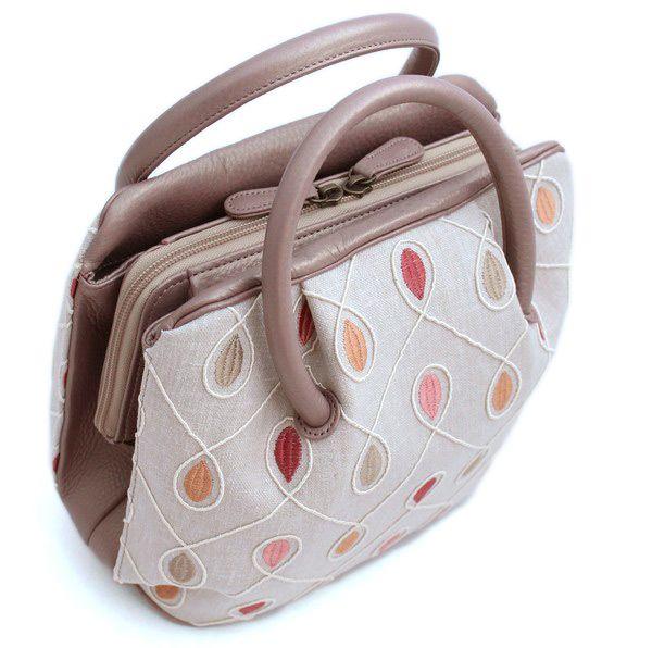和装バッグ しずく・水玉・小豆色/北欧ファブリック 刺繍 コロンと丸いフォルム 着物バッグ 牛革 「日本製」