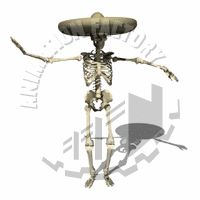 Dancing Skeleton Wearing Sombrero Animated Clipart