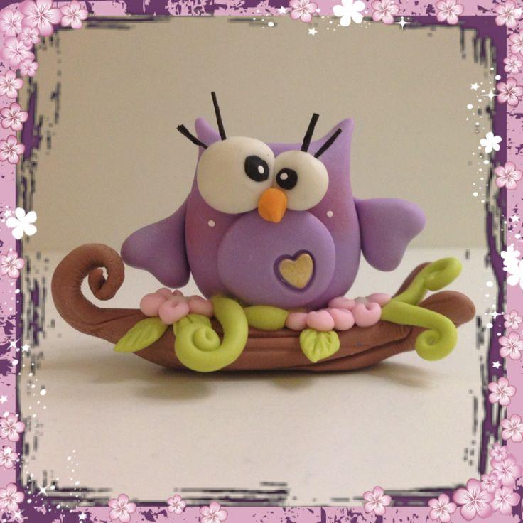 Gufo Owl Pasta di mais porcellana fredda polymer clay masa flexible porcelana fria col porcelain www.facebook.com/tiptoescreation