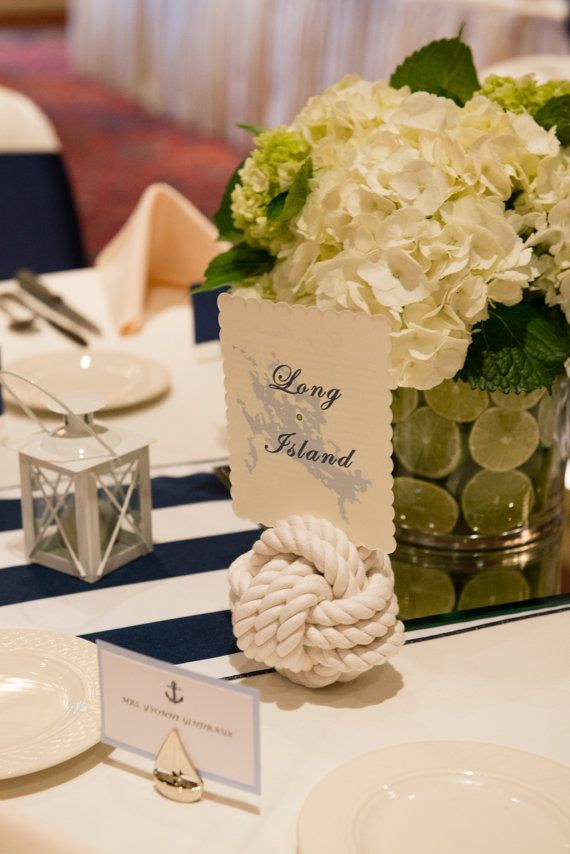 wedding table name card size%0A Nautical Wedding Knot    Table Number Holders for your Seaside Wedding  White Monkey Fist Rope Knots