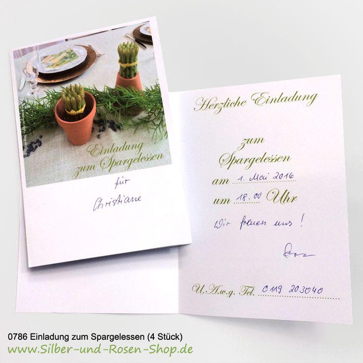 4 Einladungskarten zum Spargelessen