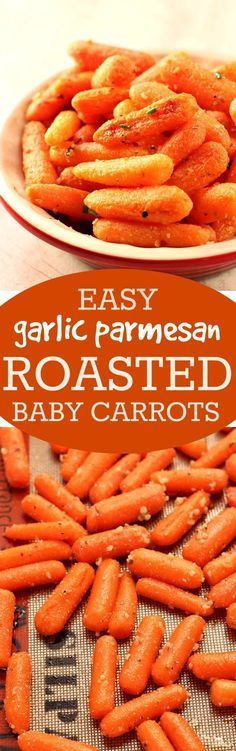 Easy Garlic Parmesan Roasted Baby Carrots – roasting carrots brings out their sweetness and rich flavor! Adding garlic, Parmesan and oregano makes them irresistible!