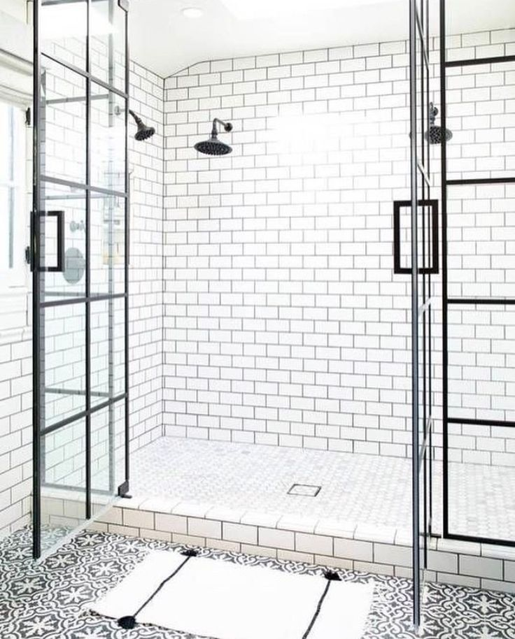 Pattern Floor Tile White Subway Tile Shower With Dark Grout