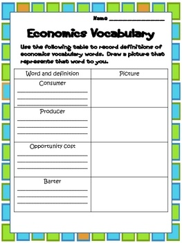 Economics For Students This Worksheet Could Be A Resource For