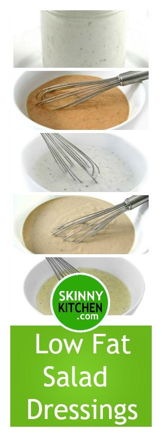 5 Incredibly Delicious Low Fat Salad Dressings. All under 24 calories & under 2g fat per tablespoon! All include SmartPoints. http://www.skinnykitchen.com/recipes/5-incredibly-delicious-low-fat-salad-dressings/