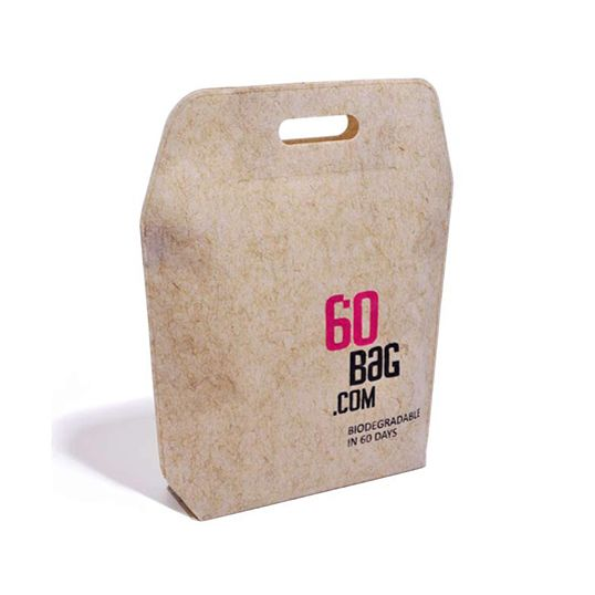 """60BAGS are the perfect natural answer to the environment's needs. They are biodegradable carrier bags made out of flax-viscose non-woven fabric."""