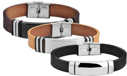 Ein schlicht elegantes Armband für Herren aus Leder und Edelstahl, welches mit Gravur versehen werden kann