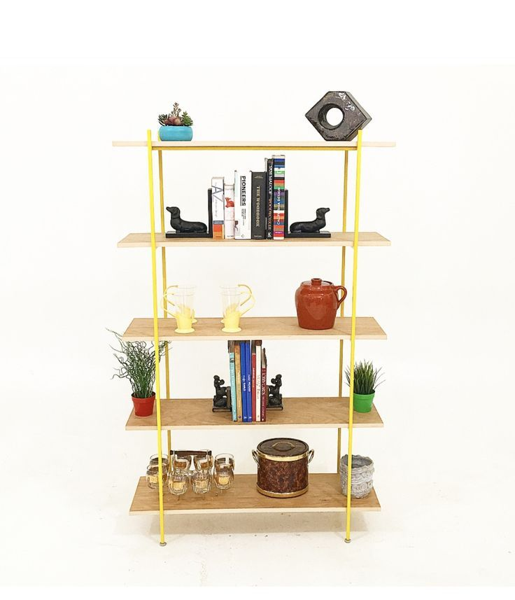 Walnut and Yellow Metal Wall Unit