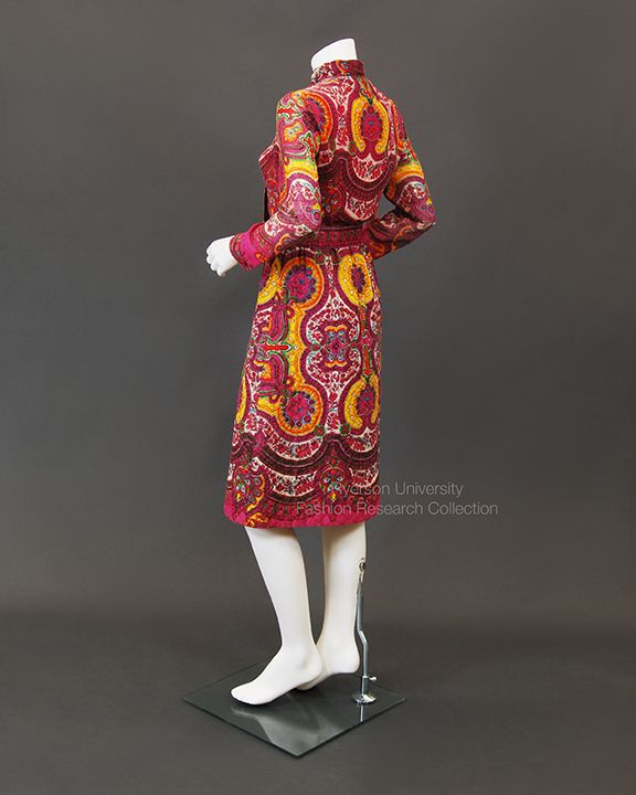 Paisley print jersey knit dress with quilted skirt, c.1965-68, SIMPSONS THE ROOM, FRC1989.05.86