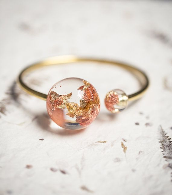 Gold Globe Resin Cuff Sun Moon Bracelet Rose Yellow by daimblond