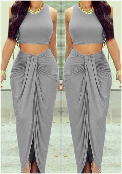 This dark grey wrap maxi skirt features an elastic waistline with ruched detailing. Get that gypsy look by pairing this wrap maxi skirt with a headpiece, a crop top an braids. | Lookbook Store Skirts