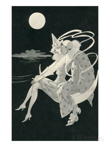 Pierrot Wooing by Moonlight Art Print
