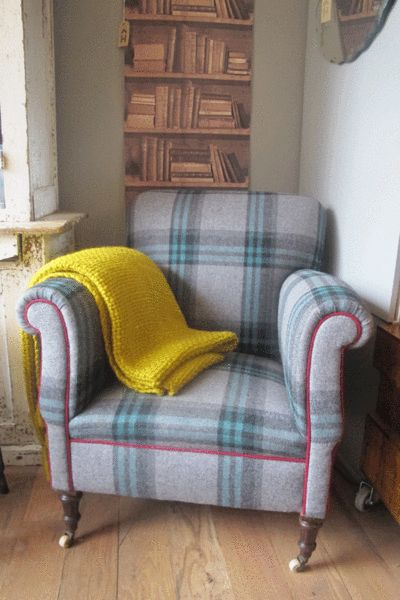 Hollys House - Vintage Tartan Armchair love the purples and blues together