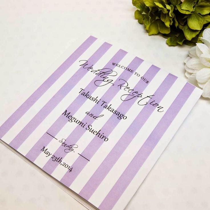 太めストライプが派手かわいい♡ セクシーなパープルの席次表まとめ。結婚式の席次表デザイン一覧。