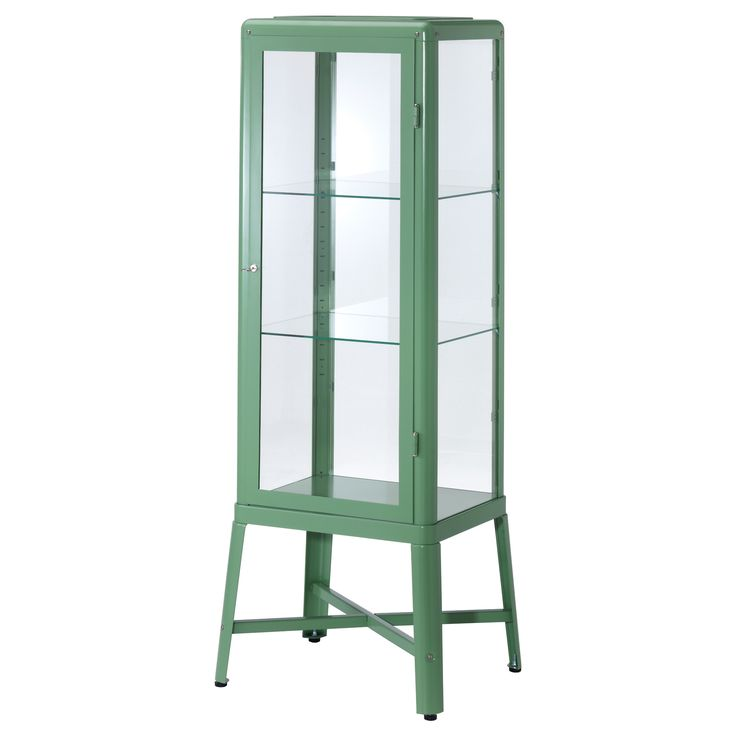 Vintage-y glass door cabinet in light green from Ikea.  This needs to live in my house