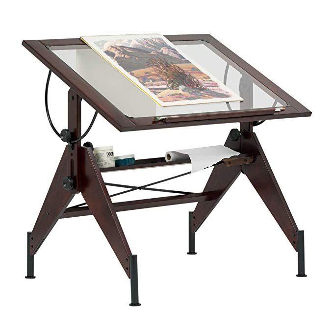Studio Designs Aries Glass Top Drafting Table Sonoma Dark Walnut Brown Clear Glass 13310 Drawing Desk Aries Glass Vintage Drafting Table
