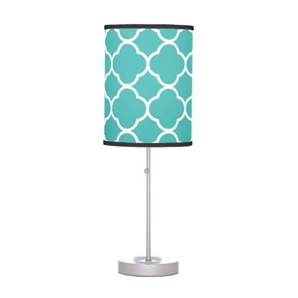 Teal Pattern Geometric Modern Decor Table Lamp ($46) ❤ liked on Polyvore featuring home, lighting, table lamps, modern lamps, geometric lighting, modern table lamps, teal colored lamps and teal lights