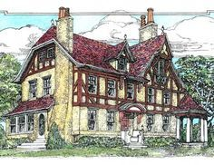 Gorgeous, cozy Tudor house plan - just a few tweaks