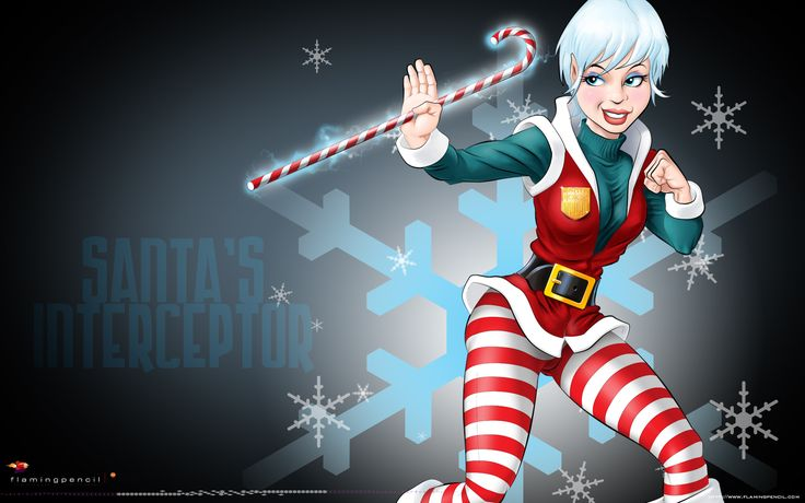 A personal piece for my Christmas Greeting:  Interceptor Agent Snowflake!  She rides shotgun for Santa, she kicks butt and takes names, puts out fires, clears the air traffic and takes out the trash to secure safe and timeous delivery of the precious Christmas cargo by the kind and gentle Santa.  She is the reason why Santa's record remains as clean as the driven snow. ;)