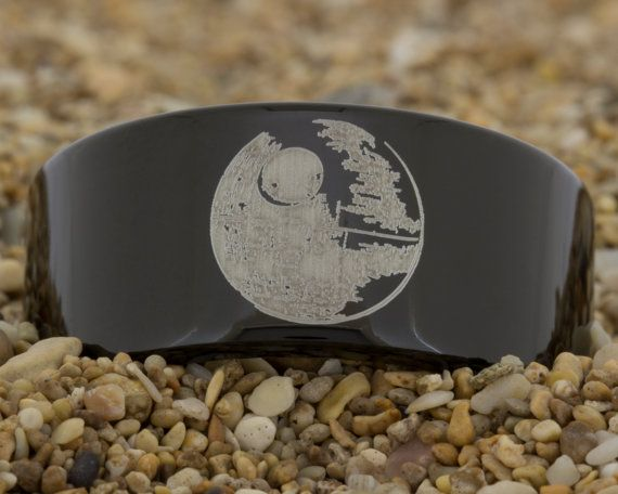 11mm Black Pipe Tungsten Carbide comfort fit ring with Star Wars Death Star design and FREE INSIDE ENGRAVING up to 32 characters!    Made