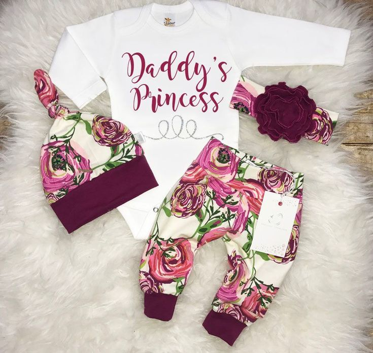 Baby Girl Coming Home Outfit  Newborn Girl Outfit Daddy's Princess Outfit  Baby Shower Gift Magenta Floral Outfit Baby Girl Clothes by LLPreciousCreations on Etsy https://www.etsy.com/listing/527684162/baby-girl-coming-home-outfit-newborn #babygirloutfits