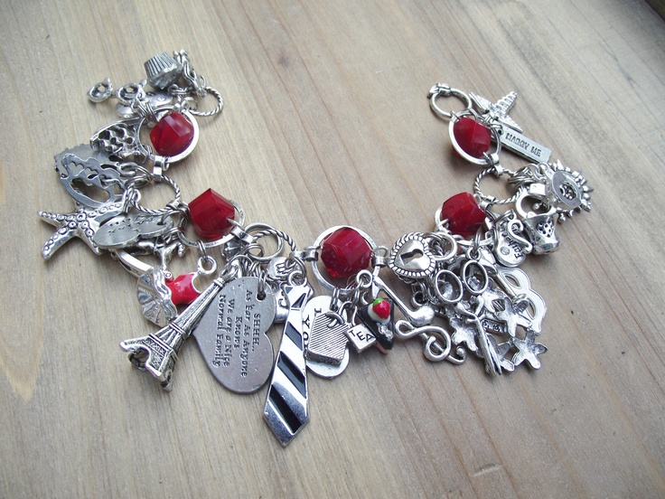 LAST ONE - RRoP- 50 Shades of Grey Red Room Inspired Charm Bracelet. $69.99, via Etsy.