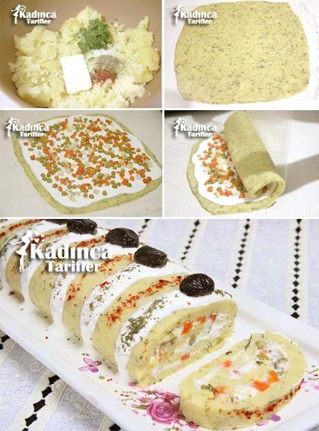 Rulo Patates Salatası Tarifi İçin Malzemeler  Patates püresi için;  5-6 adet orta boy patates, 1 tatlı kaşığı tuz, 1 tutam dere otu, Pul biber, Nane, 25 gram margarin veya tereyağı (1 yemek kaşığı). Yoğurt sosu için;  4 yemek kaşığı susuz yoğurt, 2 yemek kaşığı mayonez, 1 diş sarımsak rendesi, 1 fiske tuz. Arası için;  250 gram garnitür (konserve garnitür kullandım).